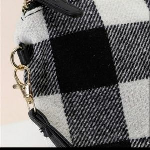 Black and White checkered/ plaid flannel clutch